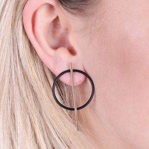 Circle And Bar Stud Earrings In Gold And Black