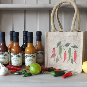 Hand Painted Chilli Bag Of Six Sauces