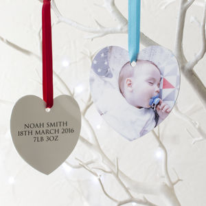 Personalised Babys First Christmas Heart Decoration