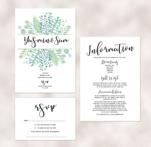 Botanical Boho Luxe Wedding Invitations