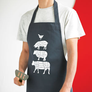 Butcher's Meat Cuts Kitchen Apron - gifts for him