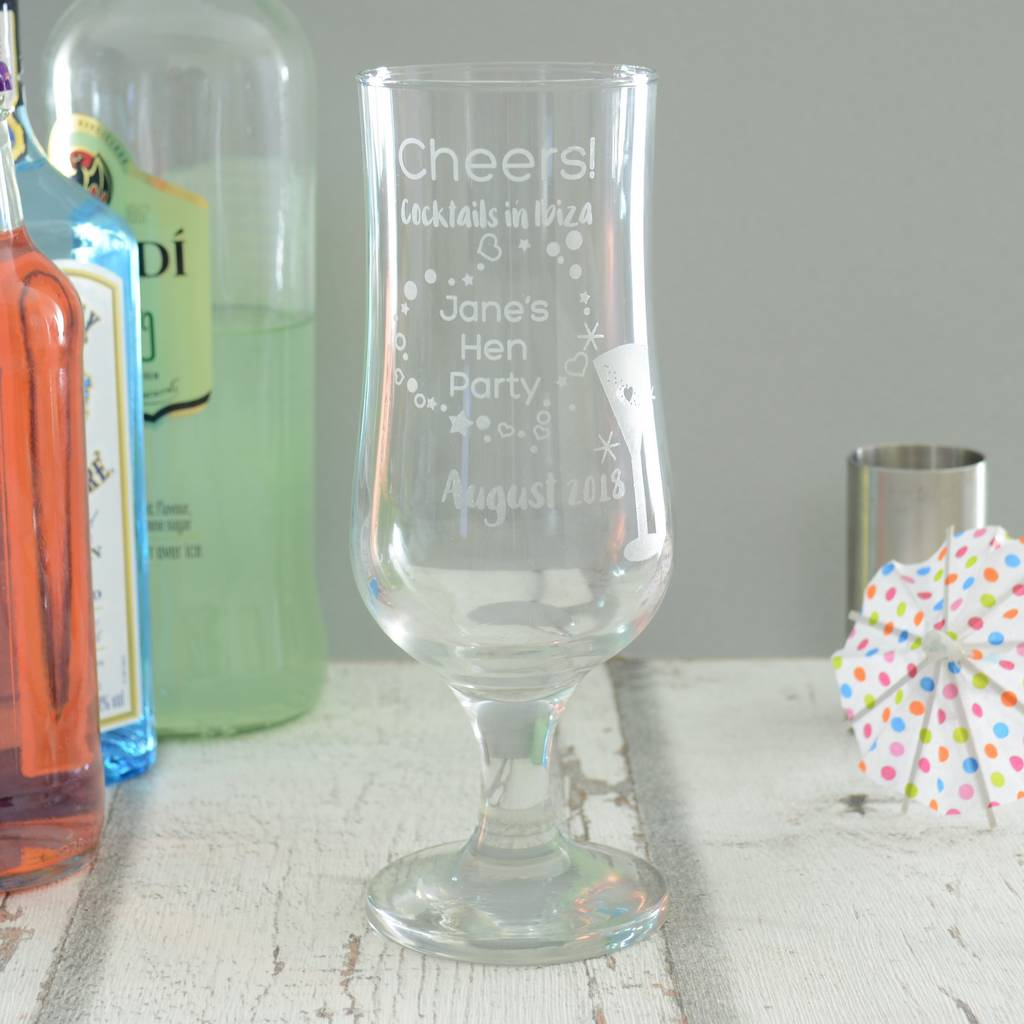 Personalised Hen Party Cocktail Glass