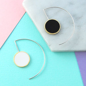 Double Sided Monochrome Gold/Silver Hoop Earrings