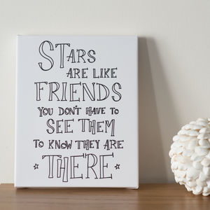 'Stars Are Like Friends' Glow In The Dark Star Canvas - pictures & prints for children