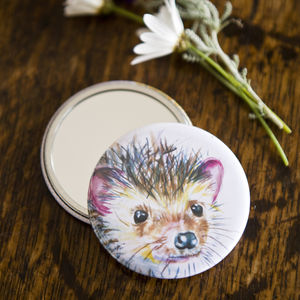 Inky Hedgehog Pocket Compact Mirror - mirrors
