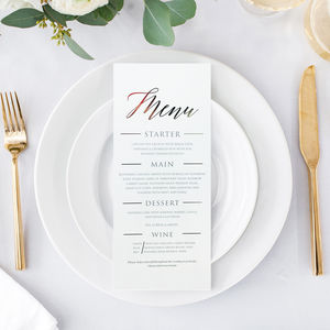 Classic Menu - wedding stationery