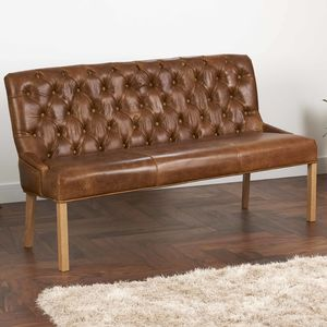 Vintage Leather Or Harris Tweed Buttoned Sofa Bench - furniture