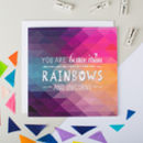 'Rainbows And Unicorns' Geometric Anniversary Card