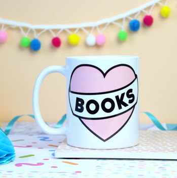 Love Books Heart Mug