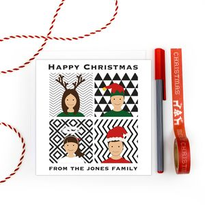 Personalised Family Christmas Cards Pack 'Squares' - cards & wrap