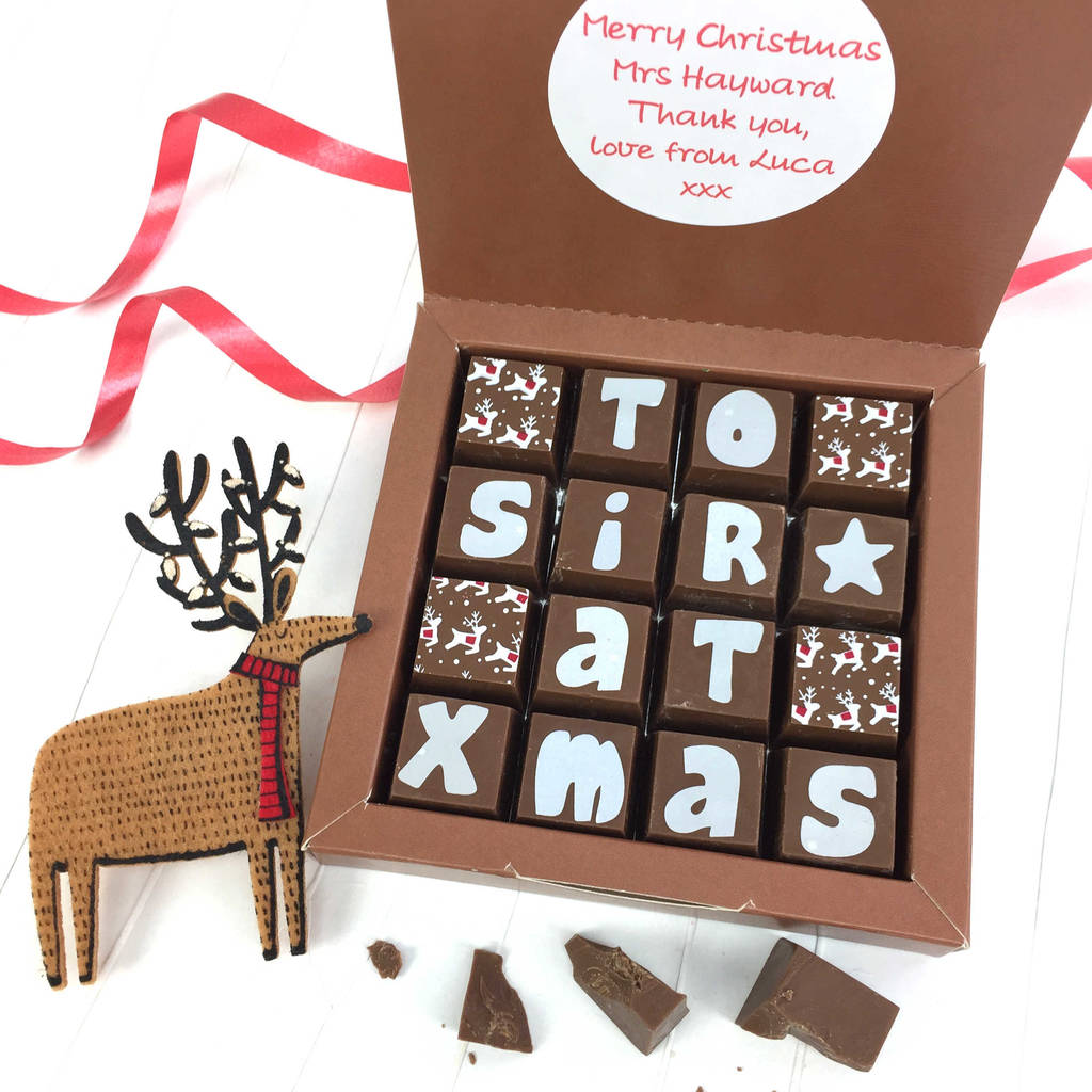 Personalised Message For Teacher Christmas Chocolates
