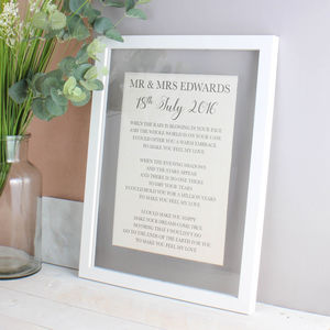 Cotton Anniversary Lyrics/Vows Print - dates & special occasions