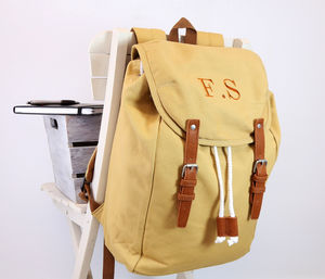 Personalised Vintage Canvas Rucksack - men's accessories