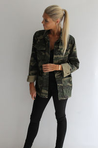 Camo Army Jacket - women's fashion