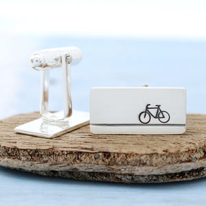 Sterling Silver Bike Cufflinks