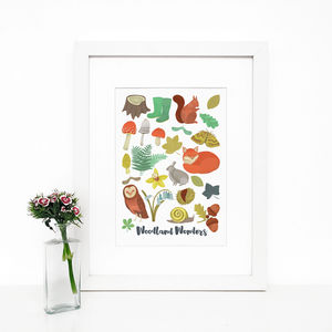 'Woodland Wonders' Illustrated Giclée Wall Art Print - nature & landscape