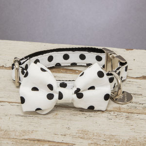 The Mayfair Black And White Spotty Dog Collar Bow Tie - pets sale