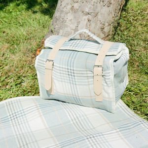Blue And Clotted Cream Tartan Cooler Bag And Blanket - garden
