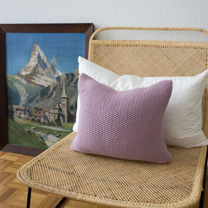 Strikk Hand Knit Seed Stitch Cushion In Blush Pink - plain cushions