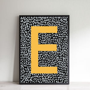 Personalised Brushstroke Initial Print - modern & abstract
