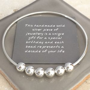 60th Birthday Handmade Silver Bangle - bracelets & bangles