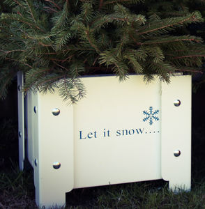 'Let It Snow' Christmas Metal Planter - tree skirts & stands