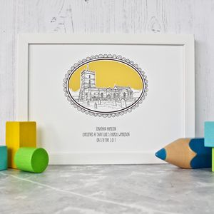 Cameo Style Christening Venue Illustration - architecture & buildings