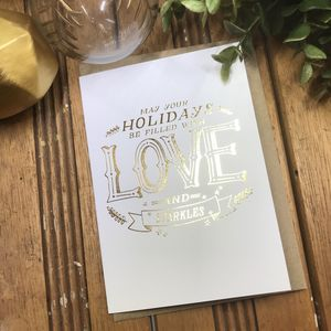 Christmas Love And Sparkles Gold Foiled Christmas Card
