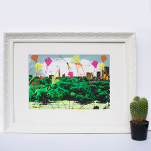 'Primrose Hill' Original Screen Print Flying Kites - limited edition art