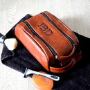 Personalised Men's Twin Zip Wash Bag