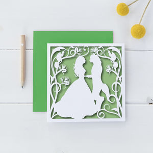 Beauty And The Beast Square Card - wedding cards