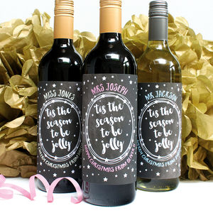 Personalised Jolly Teacher Wine Labels