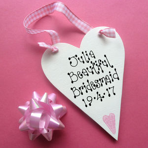 Bridesmaid Personalised Message Heart - flower girl gifts