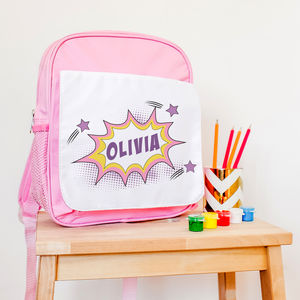 Children's Personalised Superhero 'Kapow' Pink Rucksack - children's accessories