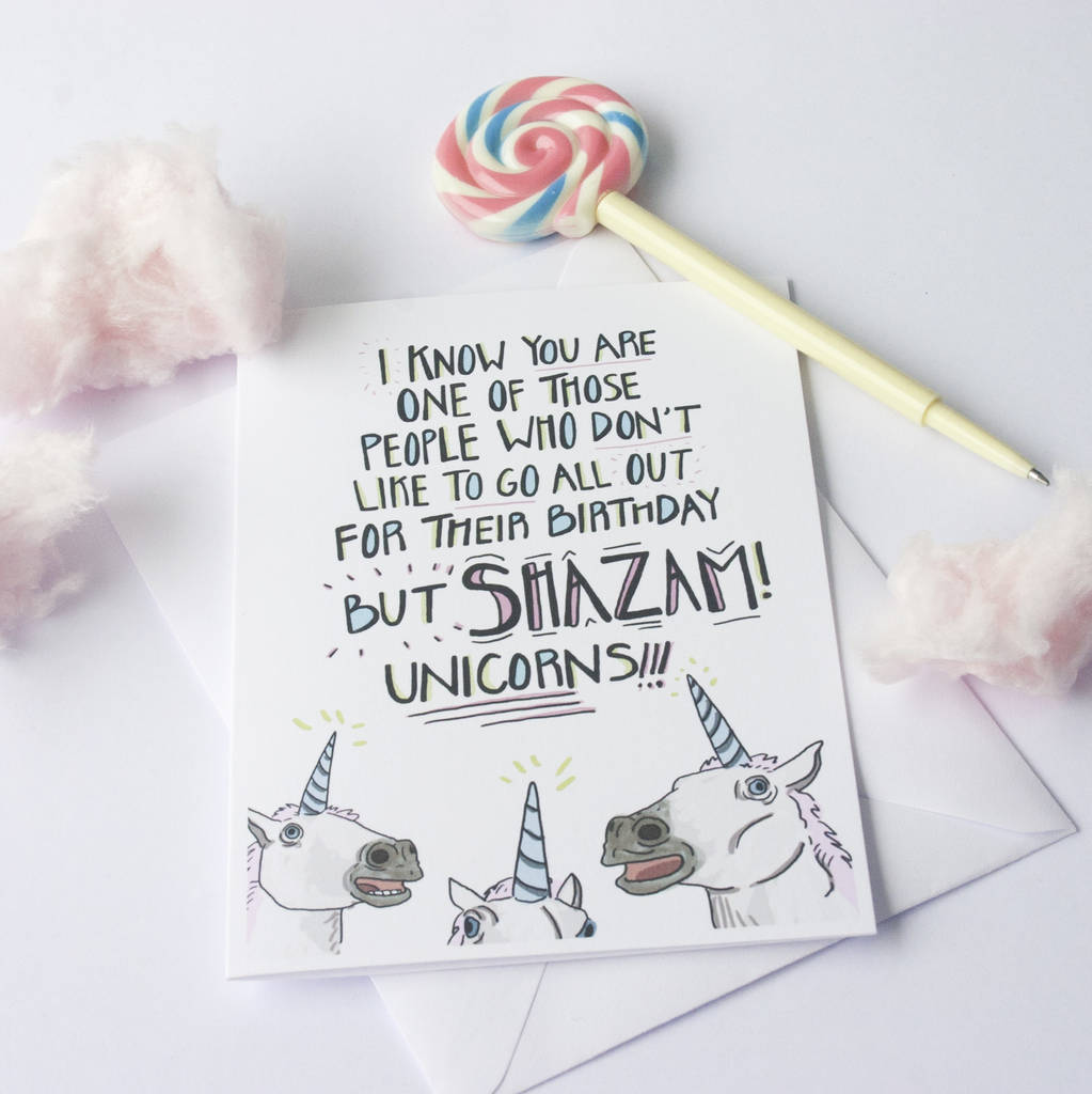 Funny unicorn surprise birthday card by the fuzzy bee paper company funny unicorn surprise birthday card bookmarktalkfo Images
