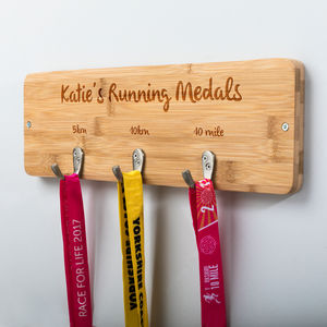 Personalised Running Medal Holder - hooks, pegs & clips