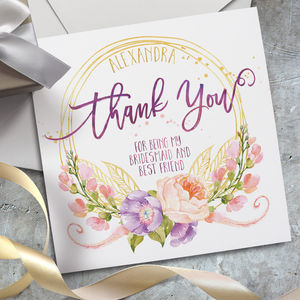 Personalised Wedding Thank You Card - bridesmaid cards