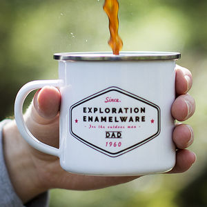 'Exploration' Personalised Enamel Mug