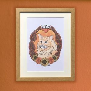 Leo Cat Star Sign Zodiac Print