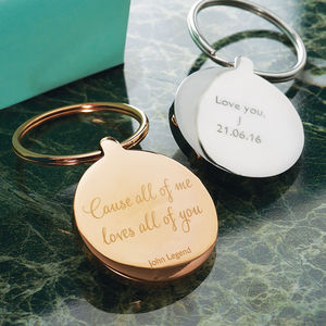Personalised Round Favourite Lyric Keyring - stocking fillers under £15