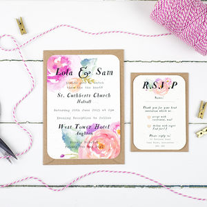 Summer Bloom Wedding Invitation And RSVP - wedding stationery