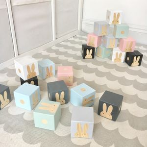 Painted Play Cubes With Wooden Rabbits - new in baby & child