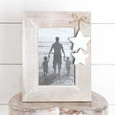 Washed Wood Picture Frame With Two Hanging Stars