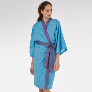 Kimono Dressing Gown In Blue Mini Orchid Print - lingerie & nightwear