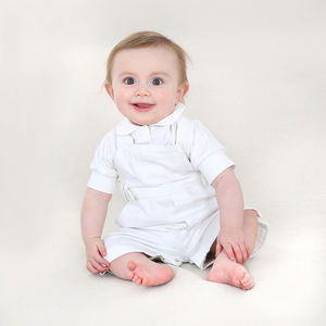Baby Boys White Cotton Dungaree And Bodysuit - christening wear