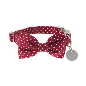 Cranberry Polka Dot Bow Tie Dog Collar - dog collars