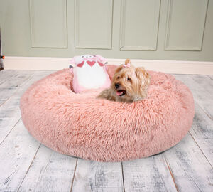 Pink Anxiety Reducing Plush Bed With Plush Pig Toy