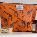 Lucky Giraffes Orange Wash Bag