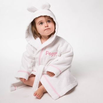 Personalised Cotton Towelling Bathrobe With Bunny Ears