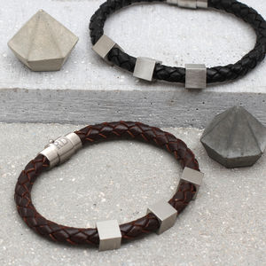 Personalised Leather And Steel Cube Bracelet